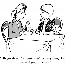 foto of not talking  - Cartoon of two women friends talking about whether to eat dessert - JPG