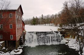 foto of clary  - The Dells Mill and Museum Augusta Wisconsin in Winter - JPG
