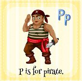 picture of letter p  - Flashcard letter P is for pirate - JPG