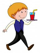 stock photo of waiter  - Happy waiter carrying a tray of drink - JPG