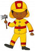 foto of fireman  - Closeup happy fireman in yellow uniform holding an axe - JPG