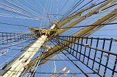 picture of mast  - Masts close up on a sailboat Kruzenshtern - JPG