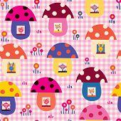 pic of fairy-mushroom  - cute baby animals in mushroom houses kids pattern - JPG
