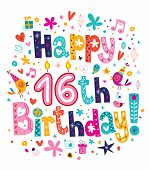 picture of sweet sixteen  - Happy 16th Birthday decorative type greeting card - JPG