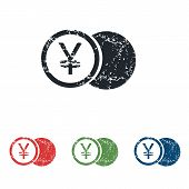 picture of yen  - Colored grunge icon set with image of yen coin - JPG