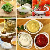 stock photo of mustard seeds  - collage of different kinds of sauce  - JPG