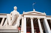 picture of greek  - Greek monument of Ioannis Kapodistrias famous politician founder of modern Greek state and Greek independence outside Athens University in Greece - JPG