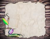 picture of spinner  - Frame with spinner lures and old paper for text - JPG
