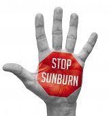 stock photo of sunburn  - Stop Sunburn Sign Painted  - JPG