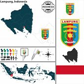 Map Of Lampung, Indonesia poster