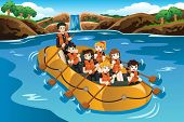 picture of raft  - A vector illustration of kids rafting in a river - JPG
