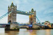 picture of london night  - Tower bridge in London Great Britain at the night time - JPG