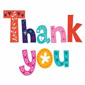 stock photo of thankful  - Thank you card decorative type lettering design - JPG