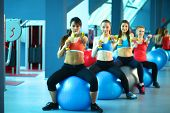 picture of pilates  - Group of people in a Pilates class at the gym  - JPG