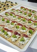 picture of canapes  - cocktail party canape fruit desert cream tray  - JPG