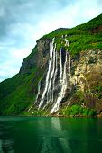 picture of fjord  - Geiranger Fjord (Norge) and waterfall Seven sisters ** Note: Visible grain at 100%, best at smaller sizes - JPG