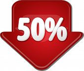 picture of fifties  - Downward glossy red arrow percent discount fifty 50 - JPG