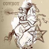 image of cowboys  - Cowboy vector set west American cowboy Indian and other - JPG