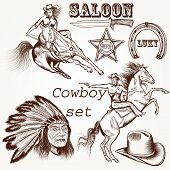 stock photo of cowboys  - Cowboy vector set west cowboy Indian and sheriff star - JPG