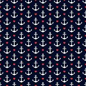 foto of navy anchor  - Seamless pattern with anchors and hearts - JPG