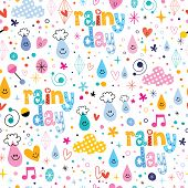 picture of rainy day  - rainy day fun characters cartoon seamless pattern - JPG