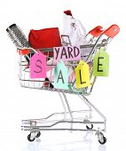 foto of yard sale  - Shopping cart of unwanted stuff ready for yard sale isolated on white - JPG
