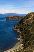 picture of shoreline  - Shoreline of the popular tourist destination Isla del Sol  - JPG
