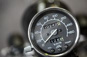 picture of mph  - Color detail with the speedometer of a motorcycle - JPG
