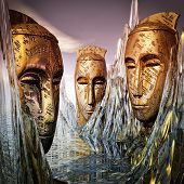 stock photo of guardian  - Guardians of Wisdom awake from the eternal ice - JPG