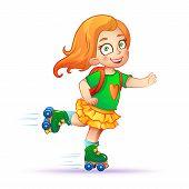 foto of roller-skating  - Little girl rides on roller skates - JPG