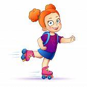 image of roller-skating  - Little girl rides on roller skates - JPG