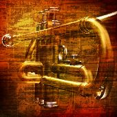 stock photo of trumpet  - abstract brown grunge vintage sound background with trumpet - JPG