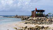 foto of beach hut  - France a Robinson hut on the beach of Sainte Anne in Guadeloupe - JPG