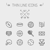 stock photo of football helmet  - Sports thin line icon set for web and mobile - JPG