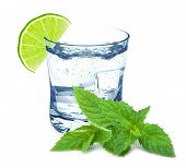 picture of lime  - water in a glass with lime and mint isolated on white background - JPG