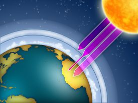 picture of ozone layer  - Atmospheric ozone filtering the sun ultraviolet rays - JPG