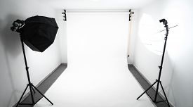 stock photo of studio  - Amateur home made photo studio in the basement - JPG