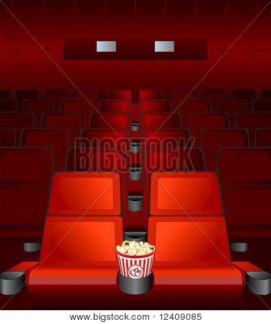 Постер, плакат: пустые стулья внутри кино фильм с выделенной любовь место, холст на подрамнике