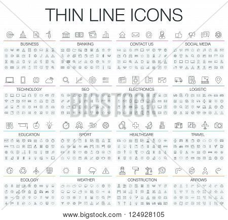 poster of Vector illustration of thin line icons business, banking, contact us, social media, technology, logistic, education, sport, medicine, travel and weather. Flat symbols set