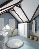 Постер, плакат: Современный интерьер дома 3D рендера Ванная комната Эксклюзивный дизайн