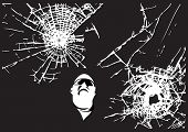 Two vector cracked glass patterns with the man looking at (All is editable)