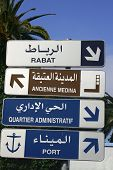 picture of asilah  - direction sign in arabic and french in the port city of asilah in morocco with palms in the background - JPG