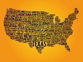Usa Map Word Cloud poster