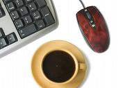 stock photo of frazzled  - keyboard mouse coffee cup isolated on white - JPG