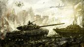 War, battle tank. Digital art. The digital image is drawn in the digital editor, using the authors  poster