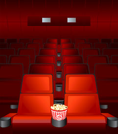 picture of movie theater  - empty chairs inside movie cinema with highlighted love - JPG