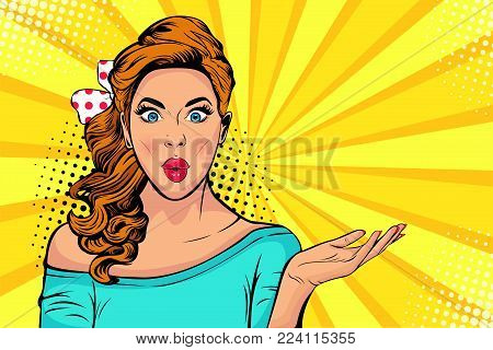 poster of Wow pop art face of surprised fashion girl open mouth. Beautiful young woman model pointing hand, advertising gesture.  Vector bright background in pop art retro comic style.
