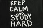 Chalkboard with phrase Keep calm and study hard poster