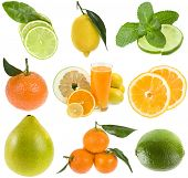 stock photo of pamelo  - collection fresh citrus isolated on the white background - JPG