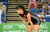 DEBRECEN, HUNGARY - JULY 9: Zsanett Miklai (in black 9) in action a CEV European League woman's voll